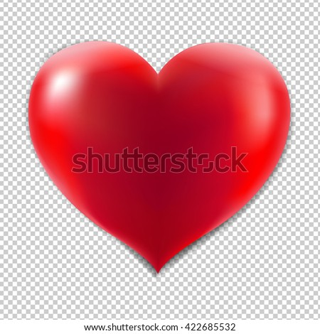 Red Heart With Isolated Background, Isolated on Transparent Background - stock photo