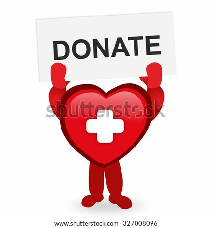 red heart with medical cross holding a sign donate - stock photo