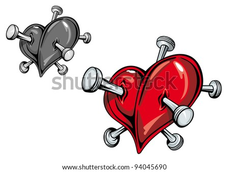 Red heart with nails for love tattoo. Vector version also available in gallery - stock photo