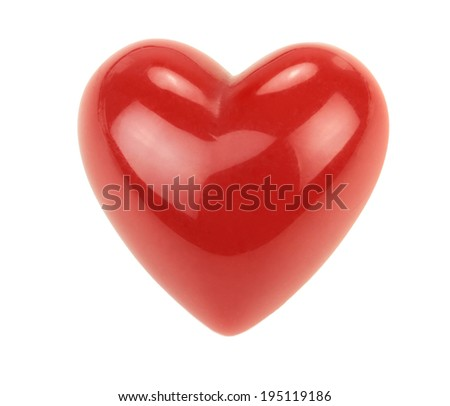Red heart with reflections isolated on white background. - stock photo
