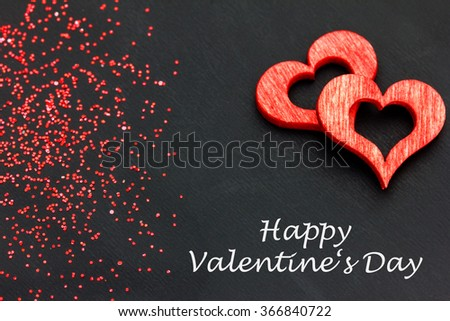 red hearts against a dark background