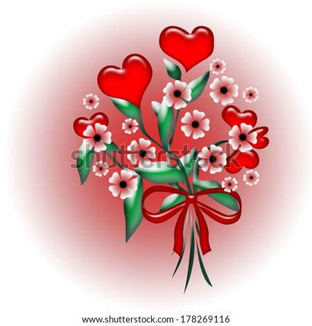 red hearts and pink flowers on a gradient background illustration - stock photo