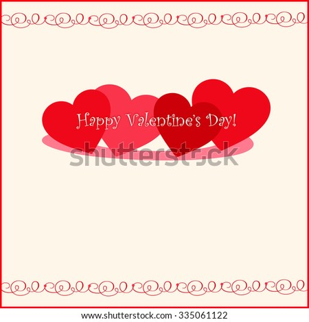 Red Hearts - Happy Valentine's Day! - Text Space