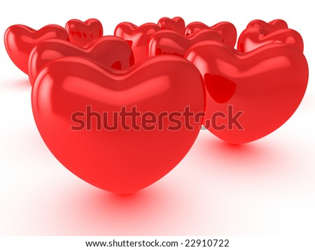 Red hearts on white background - stock photo