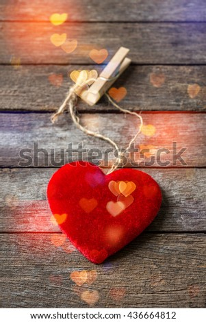 Red hearts on wooden background,vertical - stock photo