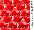 Red hearts pattern. 3d render illustration - stock photo