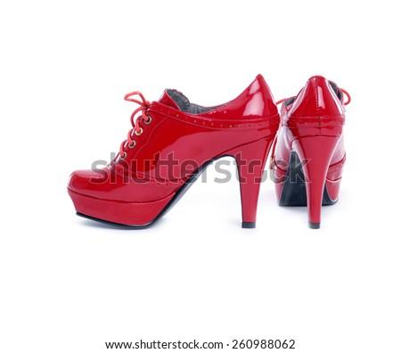 red heel women shoes - stock photo