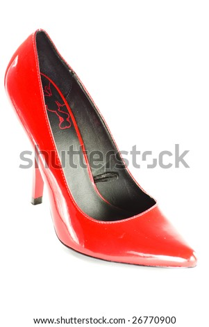 red heels on white background