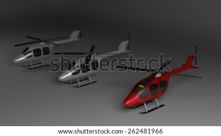 Red helicopter with black tinted windows and two gray ones on gray squared background, perspective view - stock photo