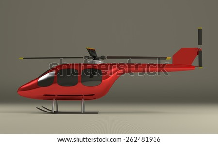 Red helicopter with black tinted windows on gray squared background, side view - stock photo