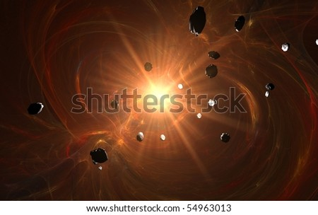 Red hell explosion in space of red nebula in field of asteroids