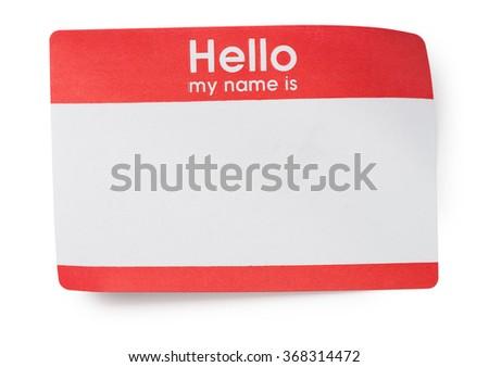 Red Hello Name Tag on White - stock photo