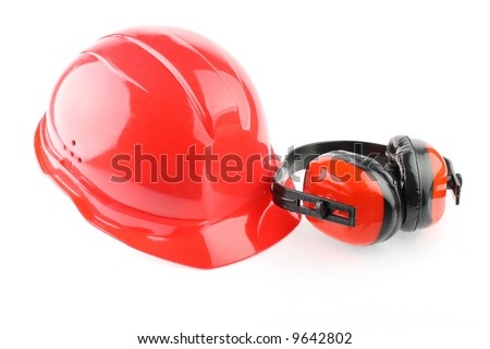 Red helmet and earphones  isolated - stock photo