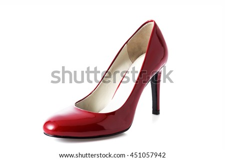 Red high heel fashion shoe on background