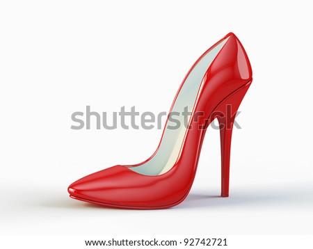 Red high heel shoe - stock photo