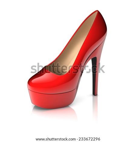 red high heel shoe 3d  - stock photo