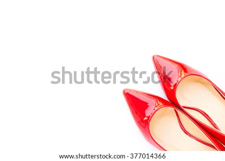 Red high heel shoes on white background - stock photo