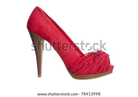 Red high heel women shoe, profile view,  isolated on white background. - stock photo