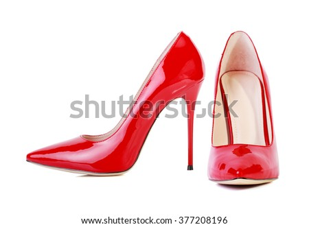 Red high heel women shoes isolated on white background - stock photo