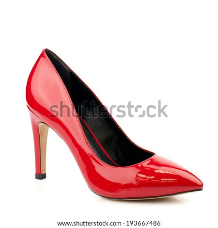 Red high heel women shoes on white background.Please, look for more photos like this in my sets.
