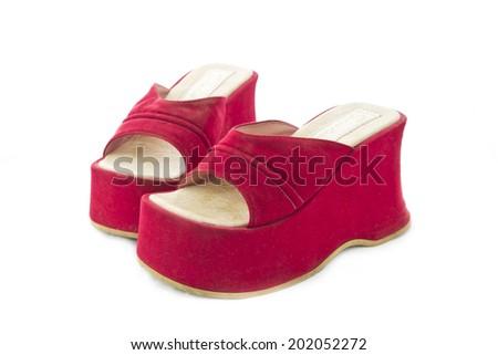 red high heeled shoe isolated on white background - stock photo