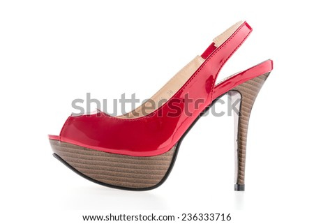 red high heels isolated on white background