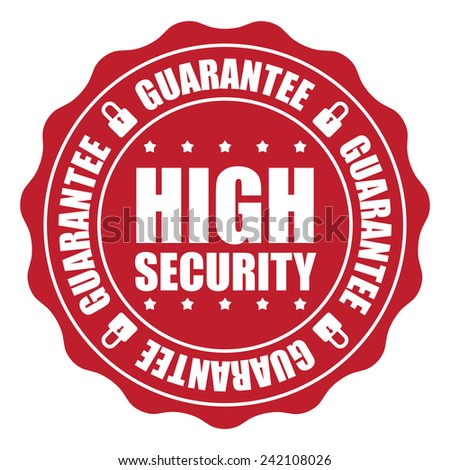 Red High Security Guarantee Icon, Badge, Sticker, Tag or Label Isolated on White Background