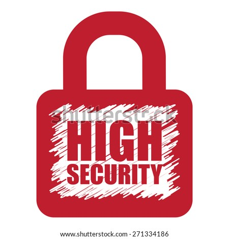 Red High Security Lock Banner, Sign, Label or Icon Isolated on White Background - stock photo