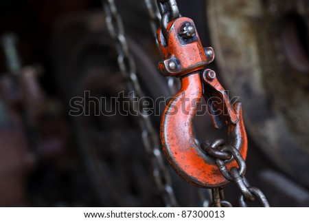 red hoist chain as vintage background - stock photo