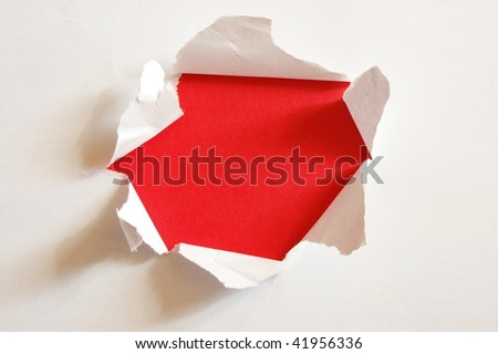 red hole with copypsace in blank white paper - stock photo