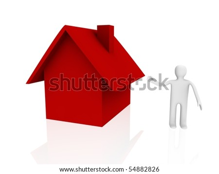 red home and 3d figure