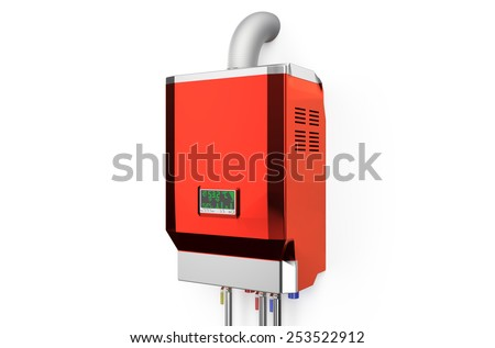 Red home gas-fired boiler,  water heater isolated on white background - stock photo