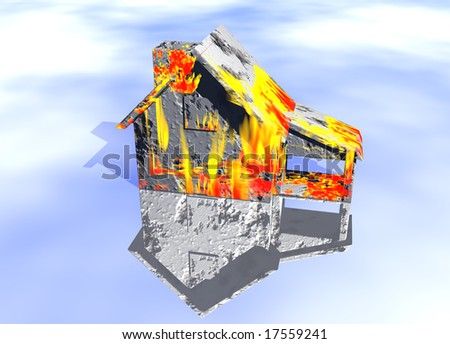 Red Home on Fire House Model with Reflection Concept For Risk or Property Insurance Protection - stock photo