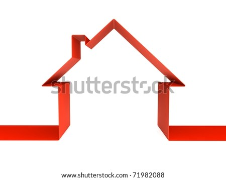 Red home outline - stock photo