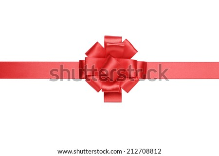 red horizontal big present or award bow with ribbon, isolated on white - stock photo