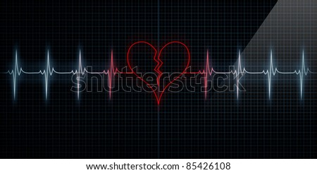 Red Horizontal Pulse Trace Heart Monitor with the symbol of a broken heart in line with the pulse. Concept for broken heart or heart attack or love loss. - stock photo