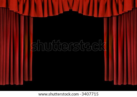 Red Horozontal Draped Theatre Curtains on Black - stock photo