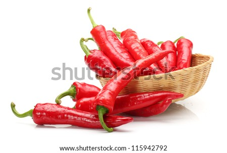 Red Hot Chili on white background - stock photo