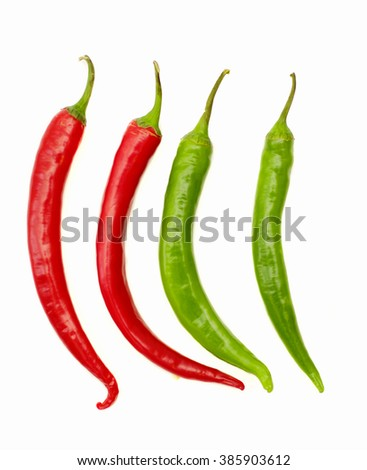 red hot chili paper on white background - stock photo