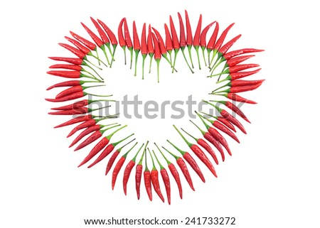 Red hot chili pepper isolated, heart shapped - stock photo