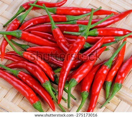 Red hot chili peppers background - stock photo