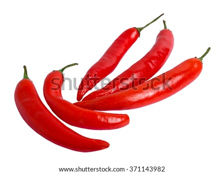 Red hot chili peppers isolated on white background. Masked.
