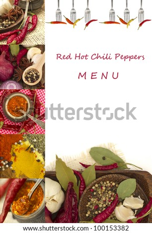 Red Hot Chili Peppers Menu - stock photo