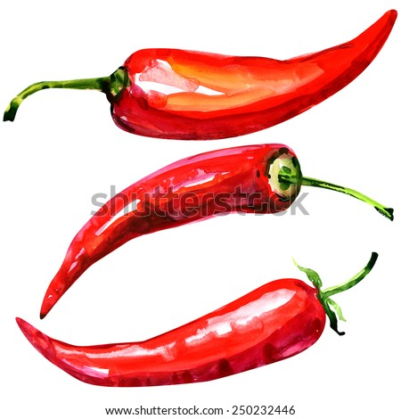 Red hot chili peppers on white background - stock photo