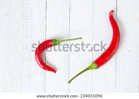red hot chili peppers on white wooden - stock photo
