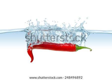 red hot chili splashes into water - stock photo