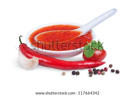red hot chilli sauce  isolated on a white background - stock photo