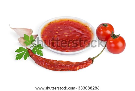 red hot chilli sauce  isolated on a white background. - stock photo