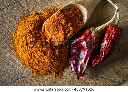 red hot dry chili pepper and paprika on wooden background - stock photo