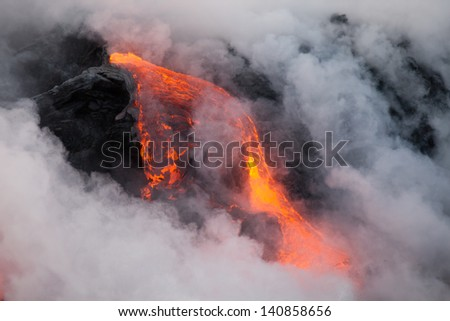 Red hot lava flow, Big Island, Hawaii - stock photo